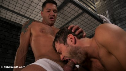 Photo number 1 from Hard Up Hole: Max Adonis gives up holes for protection shot for Bound Gods on Kink.com. Featuring Max Adonis  and Dominic Pacifico in hardcore BDSM & Fetish porn.