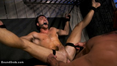Photo number 4 from Hard Up Hole: Max Adonis gives up holes for protection shot for Bound Gods on Kink.com. Featuring Max Adonis  and Dominic Pacifico in hardcore BDSM & Fetish porn.
