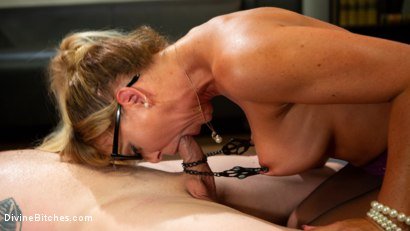 Photo number 13 from Executive Discipline: Cherie DeVille Humiliates Her Boss Mike Panic shot for Divine Bitches on Kink.com. Featuring Cherie DeVille and Mike Panic in hardcore BDSM & Fetish porn.