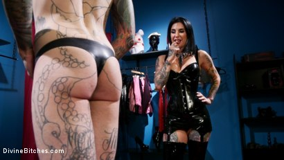 Photo number 2 from Joanna's Boutique: Joanna Angel Takes It Out On Her Cheap Customer shot for Divine Bitches on Kink.com. Featuring Ruckus and Joanna Angel in hardcore BDSM & Fetish porn.