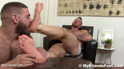 Photo number 15 from Hugh Hunter Worshiped Until He Cums shot for My Friends Feet on Kink.com. Featuring Hugh Hunter and Ricky Larkin in hardcore BDSM & Fetish porn.