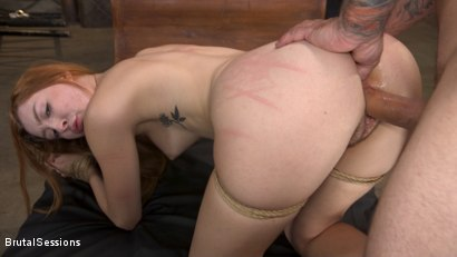 Photo number 19 from Redheaded Girl Next Store Megan Winters Fucked in Brutal Rope Bondage! shot for Brutal Sessions on Kink.com. Featuring Mr. Pete and Megan Winters in hardcore BDSM & Fetish porn.