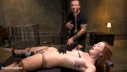 Photo number 6 from Redheaded Girl Next Store Megan Winters Fucked in Brutal Rope Bondage! shot for Brutal Sessions on Kink.com. Featuring Mr. Pete and Megan Winters in hardcore BDSM & Fetish porn.