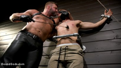 Photo number 1 from Daddy's Boy: Leather Daddy Colby Jansen dominates Zak Bishop  shot for Bound Gods on Kink.com. Featuring Zak Bishop and Colby Jansen in hardcore BDSM & Fetish porn.
