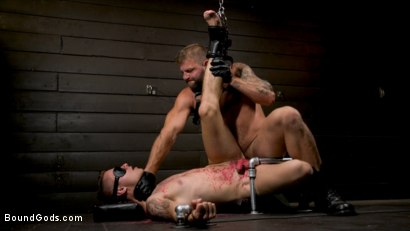 Photo number 7 from Daddy's Boy: Leather Daddy Colby Jansen dominates Zak Bishop  shot for Bound Gods on Kink.com. Featuring Zak Bishop and Colby Jansen in hardcore BDSM & Fetish porn.