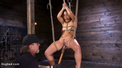 Photo number 6 from Sexy Latina Liv Revamped Captured and Tormented in Grueling Bondage shot for Hogtied on Kink.com. Featuring Liv Revamped in hardcore BDSM & Fetish porn.