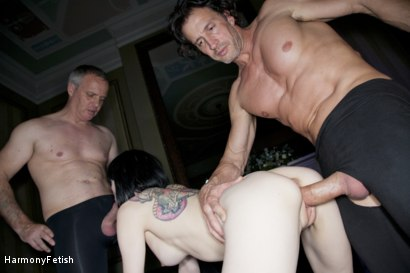 Photo number 7 from Tattooed Whore gets Spitroasted shot for Harmony Fetish on Kink.com. Featuring Ian Tate, Tony De Sergio and Sofia Valentine in hardcore BDSM & Fetish porn.