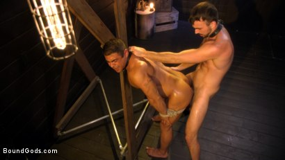Photo number 16 from Dungeon Muscle Challenge: Two Pain Sluts Pushed To Their Limits shot for Bound Gods on Kink.com. Featuring Sebastian Keys, Mason Lear  and Draven Navarro in hardcore BDSM & Fetish porn.