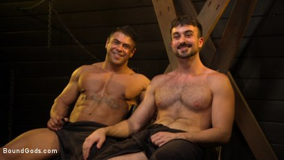 Photo number 20 from Dungeon Muscle Challenge: Two Pain Sluts Pushed To Their Limits shot for Bound Gods on Kink.com. Featuring Sebastian Keys, Mason Lear  and Draven Navarro in hardcore BDSM & Fetish porn.
