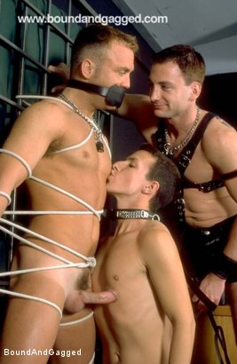 Photo number 14 from Masters & Slaves 2: When the Cat's Away shot for Bound And Gagged on Kink.com. Featuring Jason Branch, Steve Ross, Jay Ross, Aaron Tanner and Tony Ferrari in hardcore BDSM & Fetish porn.