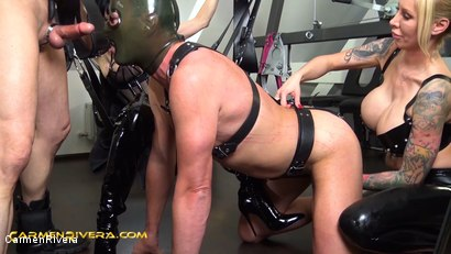 """Photo number 13 from Verarscht: Chapter Two shot for Carmen Rivera on Kink.com. Featuring Carmen Rivera, Mister P., Chris """"Schock"""" Cock and Queen Jennifer Carter in hardcore BDSM & Fetish porn."""