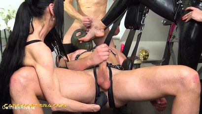 """Photo number 16 from Verarscht: Chapter Two shot for Carmen Rivera on Kink.com. Featuring Carmen Rivera, Mister P., Chris """"Schock"""" Cock and Queen Jennifer Carter in hardcore BDSM & Fetish porn."""