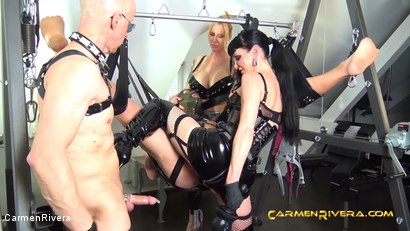 """Photo number 5 from Verarscht: Chapter Two shot for Carmen Rivera on Kink.com. Featuring Carmen Rivera, Mister P., Chris """"Schock"""" Cock and Queen Jennifer Carter in hardcore BDSM & Fetish porn."""