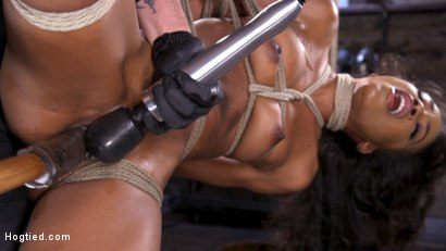 Photo number 6 from Brand New Ebony Slut Demi Sutra Gets Tied and Tormented shot for Hogtied on Kink.com. Featuring Demi Sutra in hardcore BDSM & Fetish porn.
