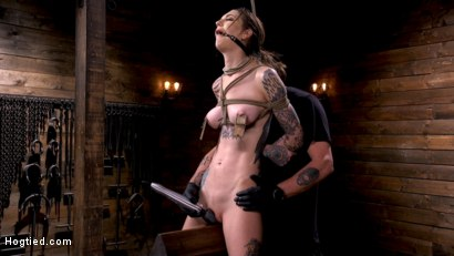 Photo number 14 from Tall Tattooed Slut in Grueling Bondage is Blissfully Suffering shot for Hogtied on Kink.com. Featuring Rocky Emerson in hardcore BDSM & Fetish porn.