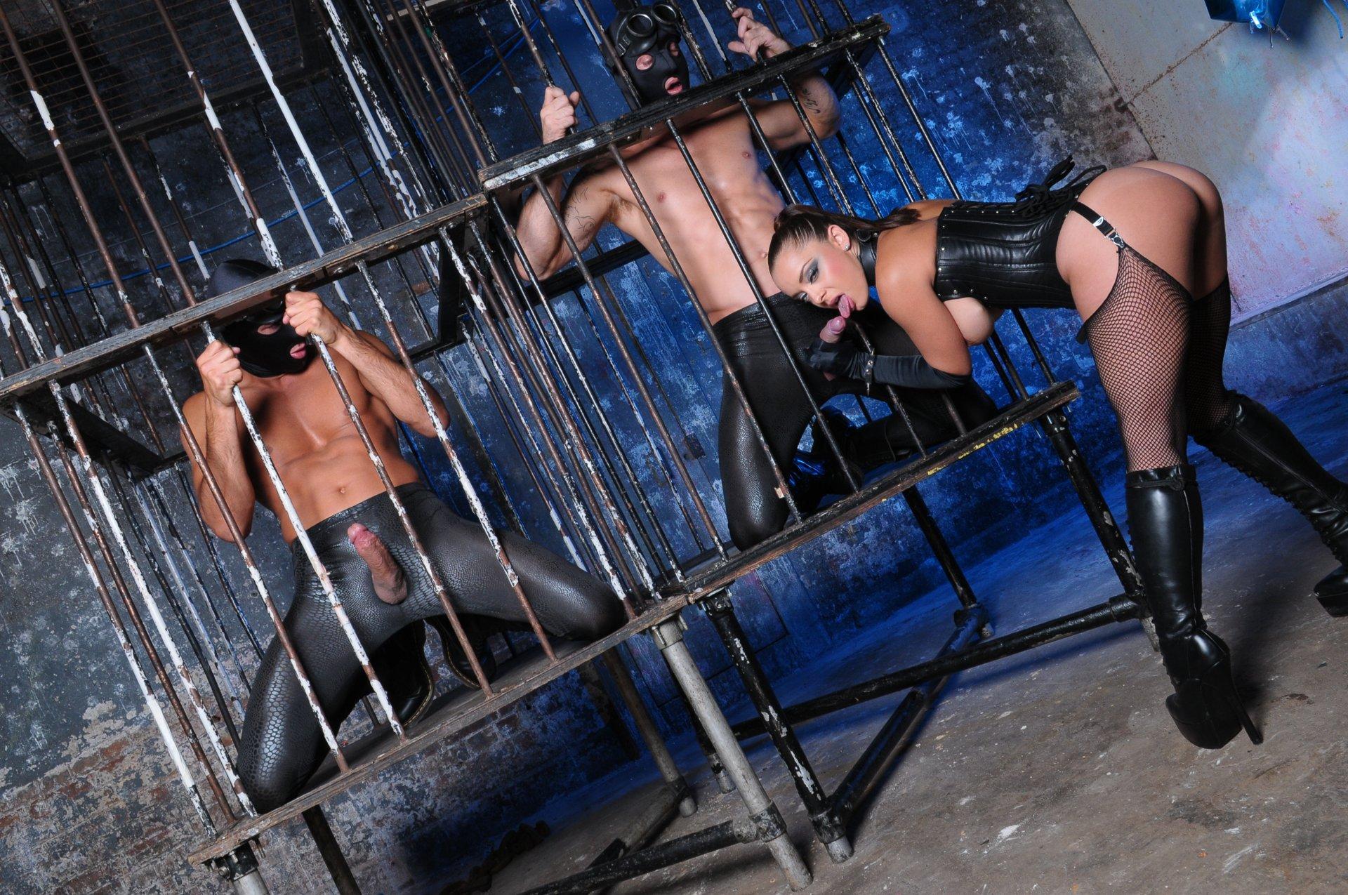 Tit bondage in Femdom bondage Cage