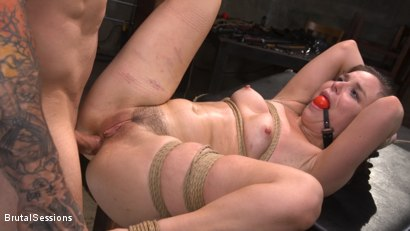 Tiny Masochist Juliette March Coerced into Bondage and Anally Fucked