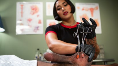 Photo number 2 from Doctor's Orders: Medical Mistress Mia Little Dominates New Patient shot for Divine Bitches on Kink.com. Featuring Mia Little and Styx in hardcore BDSM & Fetish porn.