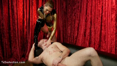 Photo number 15 from Kendra Sinclaire's Holographic Love Nest shot for TS Seduction on Kink.com. Featuring Kendra Sinclaire and Mike Panic in hardcore BDSM & Fetish porn.