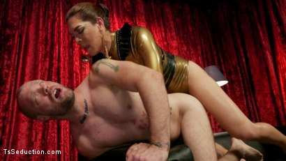 Photo number 17 from Kendra Sinclaire's Holographic Love Nest shot for TS Seduction on Kink.com. Featuring Kendra Sinclaire and Mike Panic in hardcore BDSM & Fetish porn.