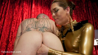 Photo number 3 from Kendra Sinclaire's Holographic Love Nest shot for TS Seduction on Kink.com. Featuring Kendra Sinclaire and Mike Panic in hardcore BDSM & Fetish porn.