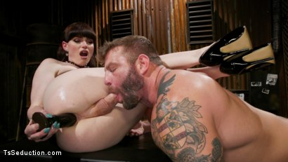 Photo number 1 from Slag Angels on Wheels: Episode One shot for TS Seduction on Kink.com. Featuring Natalie Mars  and Colby Jansen in hardcore BDSM & Fetish porn.