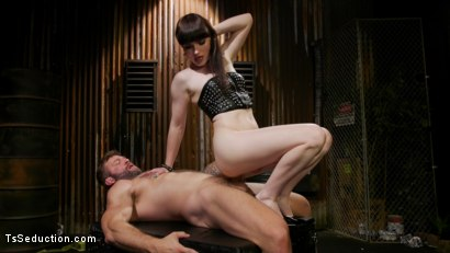Photo number 4 from Slag Angels on Wheels: Episode One shot for TS Seduction on Kink.com. Featuring Natalie Mars  and Colby Jansen in hardcore BDSM & Fetish porn.