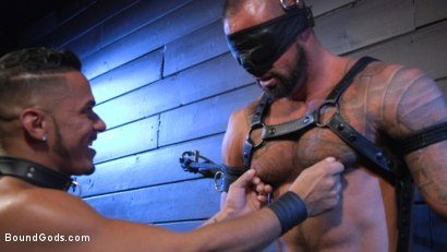 Photo number 1 from Cesar Xes Surrenders to Mr. Roman shot for Bound Gods on Kink.com. Featuring Michael Roman  and Cesar Xes in hardcore BDSM & Fetish porn.