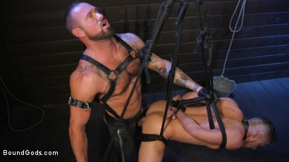 Photo number 15 from Cesar Xes Surrenders to Mr. Roman shot for Bound Gods on Kink.com. Featuring Michael Roman  and Cesar Xes in hardcore BDSM & Fetish porn.