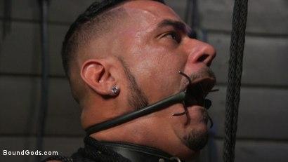 Photo number 19 from Cesar Xes Surrenders to Mr. Roman shot for Bound Gods on Kink.com. Featuring Michael Roman  and Cesar Xes in hardcore BDSM & Fetish porn.