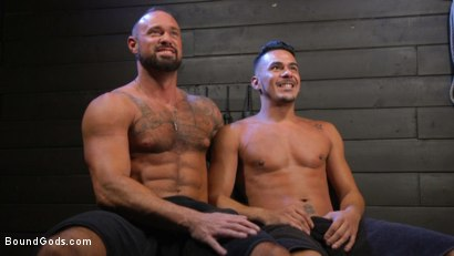 Photo number 22 from Cesar Xes Surrenders to Mr. Roman shot for Bound Gods on Kink.com. Featuring Michael Roman  and Cesar Xes in hardcore BDSM & Fetish porn.