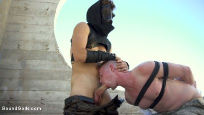 Photo number 4 from Doomsday Revenge: Survivor Exacts Revenge on Soldier  shot for Bound Gods on Kink.com. Featuring Michael DelRay and Kyler Ash in hardcore BDSM & Fetish porn.