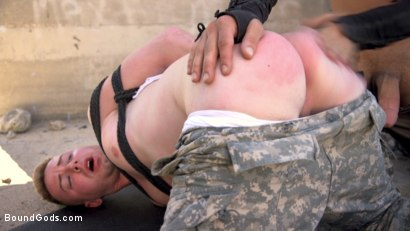 Photo number 6 from Doomsday Revenge: Survivor Exacts Revenge on Soldier  shot for Bound Gods on Kink.com. Featuring Michael DelRay and Kyler Ash in hardcore BDSM & Fetish porn.