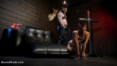 Photo number 9 from Muscular Leather Daddy Smokes Cigars & Brutally Fucks Submissive Boy shot for Bound Gods on Kink.com. Featuring Jack Dixon and Chance Summerlin in hardcore BDSM & Fetish porn.
