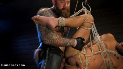 Photo number 23 from Muscular Leather Daddy Smokes Cigars & Brutally Fucks Submissive Boy shot for Bound Gods on Kink.com. Featuring Jack Dixon and Chance Summerlin in hardcore BDSM & Fetish porn.
