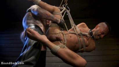 Photo number 25 from Muscular Leather Daddy Smokes Cigars & Brutally Fucks Submissive Boy shot for Bound Gods on Kink.com. Featuring Jack Dixon and Chance Summerlin in hardcore BDSM & Fetish porn.