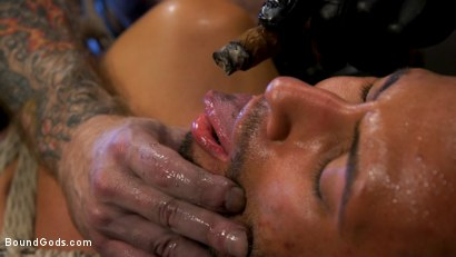 Photo number 28 from Muscular Leather Daddy Smokes Cigars & Brutally Fucks Submissive Boy shot for Bound Gods on Kink.com. Featuring Jack Dixon and Chance Summerlin in hardcore BDSM & Fetish porn.
