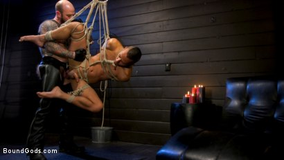 Photo number 22 from Muscular Leather Daddy Smokes Cigars & Brutally Fucks Submissive Boy shot for Bound Gods on Kink.com. Featuring Jack Dixon and Chance Summerlin in hardcore BDSM & Fetish porn.