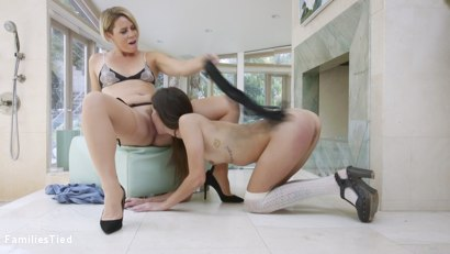 Photo number 15 from New Boyfriend Roped into Anally Punishing Mommy's Bad Girl shot for  on Kink.com. Featuring Helena Locke, Kacie Castle and Rob Piper in hardcore BDSM & Fetish porn.
