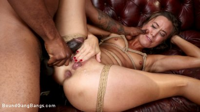 Photo number 14 from Shut Up & Fuck: Christy Love is Bound and Brutally Fucked by 5 Guys shot for Bound Gang Bangs on Kink.com. Featuring Donny Sins, John Johnson, Eddie Jaye, Mr. Pete, Sam Shock  and Christy Love in hardcore BDSM & Fetish porn.