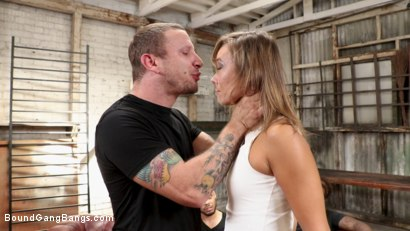 Photo number 1 from Shut Up & Fuck: Christy Love is Bound and Brutally Fucked by 5 Guys shot for Bound Gang Bangs on Kink.com. Featuring Donny Sins, John Johnson, Eddie Jaye, Mr. Pete, Sam Shock  and Christy Love in hardcore BDSM & Fetish porn.