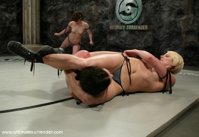 Photo number 2 from TAG TEAM DEBUT <BR>The Nightmare & Vendetta<br> vs <br> The Gymnast & Spartica shot for Ultimate Surrender on Kink.com. Featuring Syd Blakovich, Vendetta, Wenona and Devi Lynne in hardcore BDSM & Fetish porn.