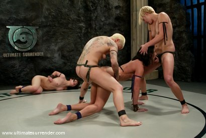 Photo number 15 from TAG TEAM DEBUT <BR>The Nightmare & Vendetta<br> vs <br> The Gymnast & Spartica shot for Ultimate Surrender on Kink.com. Featuring Syd Blakovich, Vendetta, Wenona and Devi Lynne in hardcore BDSM & Fetish porn.
