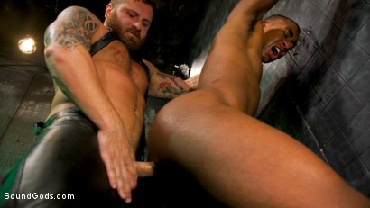 Photo number 17 from The Suffering of Buck Wright shot for Bound Gods on Kink.com. Featuring Riley Mitchell  and Buck Wright in hardcore BDSM & Fetish porn.