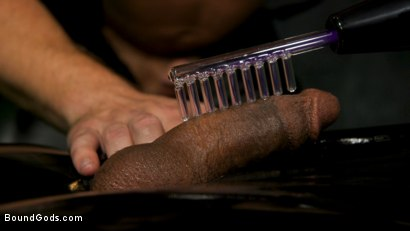 Photo number 5 from The Suffering of Buck Wright shot for Bound Gods on Kink.com. Featuring Riley Mitchell  and Buck Wright in hardcore BDSM & Fetish porn.