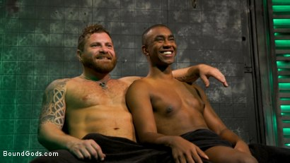 Photo number 12 from The Suffering of Buck Wright shot for Bound Gods on Kink.com. Featuring Riley Mitchell  and Buck Wright in hardcore BDSM & Fetish porn.