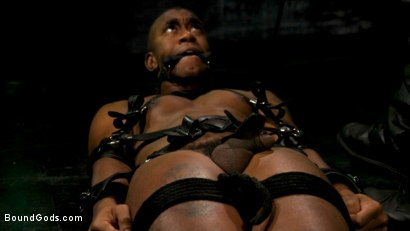 Photo number 1 from The Suffering of Buck Wright shot for Bound Gods on Kink.com. Featuring Riley Mitchell  and Buck Wright in hardcore BDSM & Fetish porn.