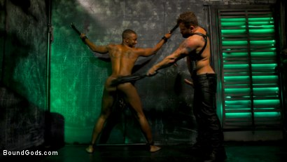 Photo number 2 from The Suffering of Buck Wright shot for Bound Gods on Kink.com. Featuring Riley Mitchell  and Buck Wright in hardcore BDSM & Fetish porn.