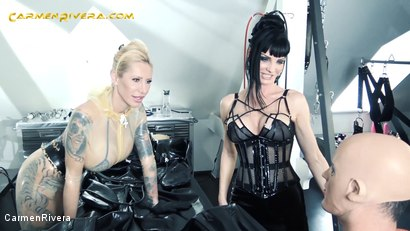 """Photo number 1 from Serious Kit Monday: Chapter One shot for Carmen Rivera on Kink.com. Featuring Carmen Rivera, Queen Jennifer Carter and Chris """"Schock"""" Cock in hardcore BDSM & Fetish porn."""
