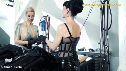 """Photo number 13 from Serious Kit Monday: Chapter One shot for Carmen Rivera on Kink.com. Featuring Carmen Rivera, Queen Jennifer Carter and Chris """"Schock"""" Cock in hardcore BDSM & Fetish porn."""